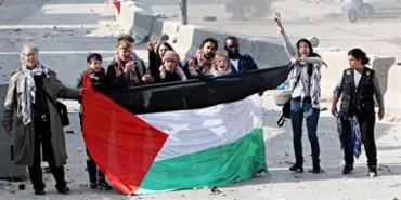 peaceful protest march at Qalandia checkpoint-gettyimages